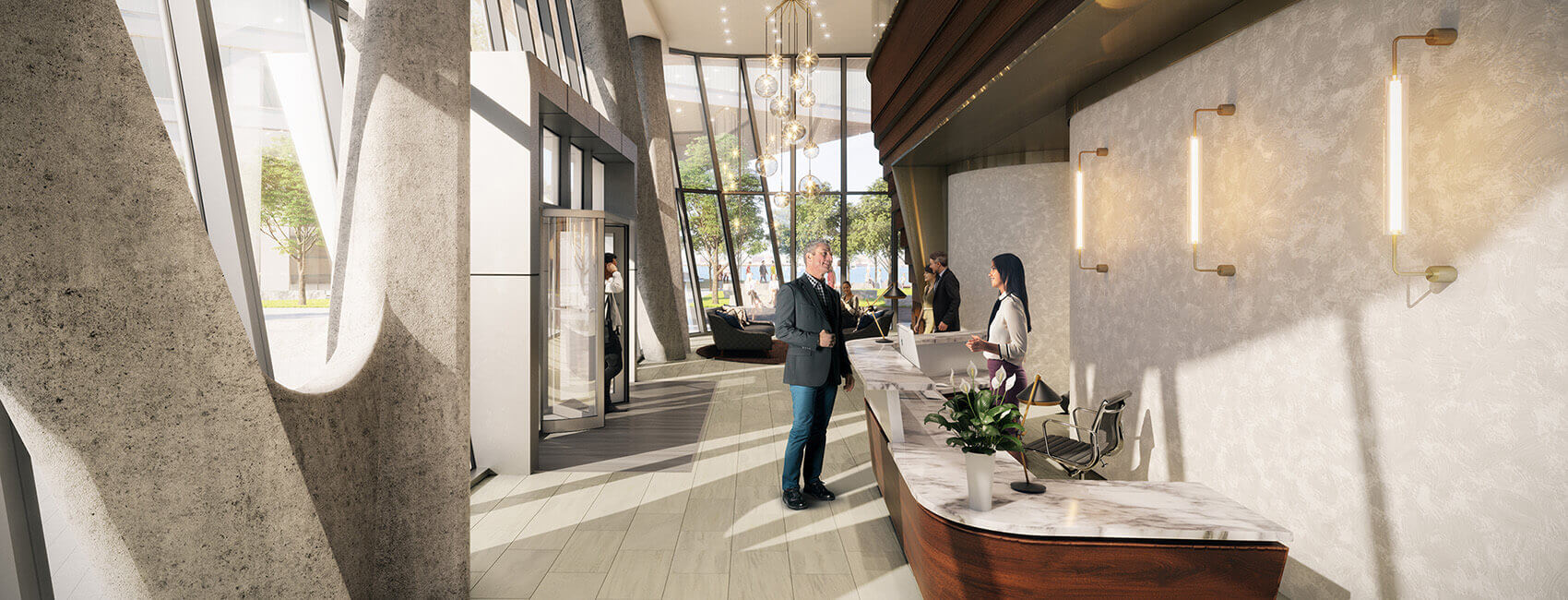 Lobby at PIER 4 Seaport Condos by Tishman Spery